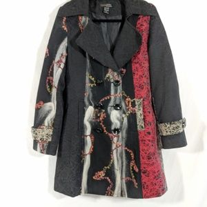Xcepsion Black Wool and Jacquard Trench Coat